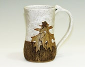 Mug with Oak Leaves and Acorns/Large Mug/White Mug With Texture