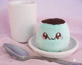 Mint Chocolate Itty Bitty Flan Frankenstein Pudding Plush Kawaii Plushie