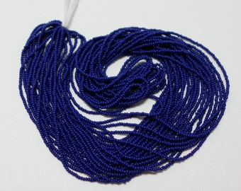 Size 15 Seed Beads- Navy Blue- Micro Beads- TINY Seed Beads-  Full Hank