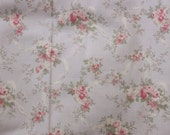 Yuwa Live Life Cotton Fabric 826103D Roses and Ribbons on Pale Gray-Lavender