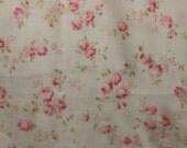 Yuwa Double Guaze Live Life Cotton Fabric 912437E Pink Roses on Light Cream