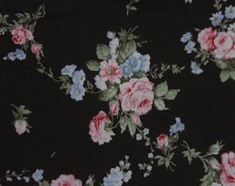 Yuwa French Roses  on Black Cotton Fabric 826227E