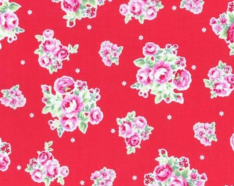 Flower Sugar Spring 2015 Pink Roses Cotton Fabric  by Lecien 31129-30 Red