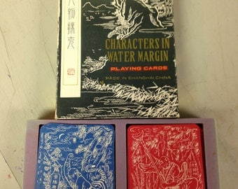 Vintage Chinese 'Characters In Water Margin' Playing Cards - 2 Decks in Case