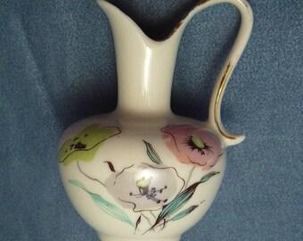 Vintage Rosenthal Kronach Vase Pink Green Grey Poppies Bavaria
