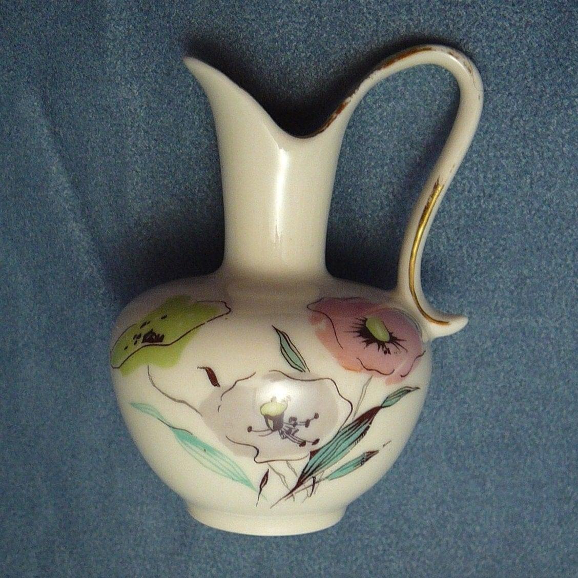 vintage rosenthal kronach vase pink green grey poppies bavaria. Black Bedroom Furniture Sets. Home Design Ideas