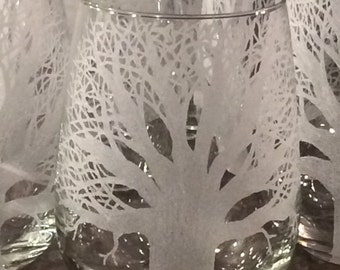 Auburn, Toomer's Corner, tree of life,etched wine glass