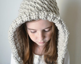 Hooded Pixie Hat With Ties - LINEN - 42 Colors Available - Your Choice - All Sizes Available