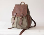 Woman backpack in green waxed canvas and brown leather, rucksack,knapsack,everyday backpack purse,back bag - Artemis backpack