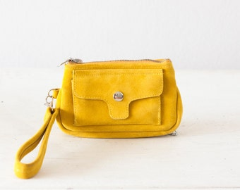 Wristlet phone wallet yellow suede leather, womens phone wallet phone case zipper wallet clutch wallet  - Thalia Wallet