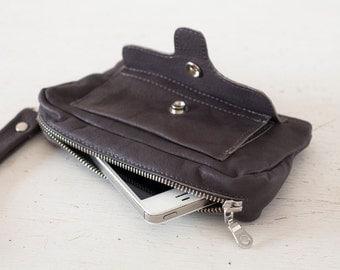 Wristlet wallet grey leather, womens phone wallet phone case zipper wallet clutch wallet grey purse wallet - Thalia Wallet