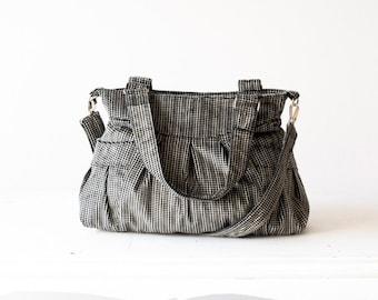 Crossover bag in black patterned cotton corduroy,cross body bag,crossbody purse,shoulder bag,messenger bag - Elessa bag