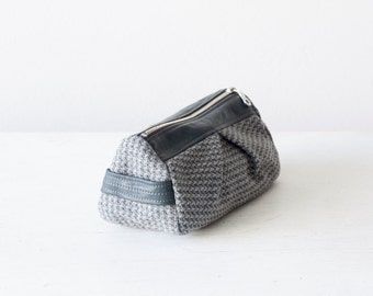 makeup bag grey wool and grey leather, accessory bag travel pouch cosmetic bag - Estia Bag