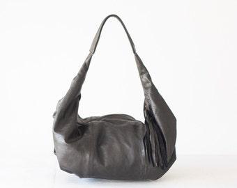 Black leather hobo bag, shoulder purse small shoulder bag hobo purse  black bag everyday purse  - Mini Kallia bag