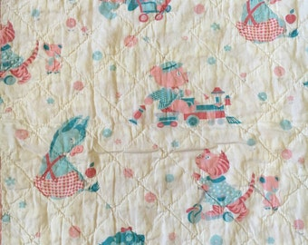 "1940's vintage baby quilt, pink, aqua, scalloped binding, 40"" x 52"" ** FREE SHIPPING to US**"