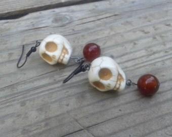 Skull Earrings - Halloween Earrings - Gothic Earrings - Red Earrings - Gift - Dark Red Jewelry - Skulls