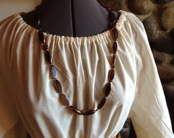 Vintage Glass Bronze Brown Beaded Boho Style Necklace