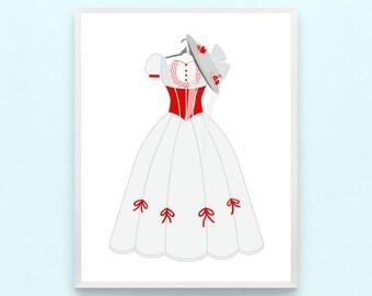 Disney Mary Poppins Inspired Princess Dress Print - Minimalist Pixar Nursery Art, Kids Playroom, Childrens, Girls Modern Nursery Drawing
