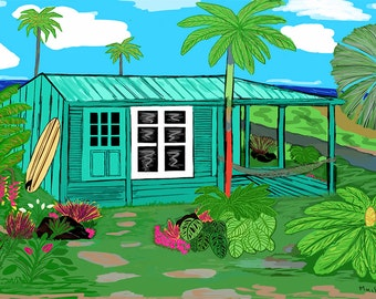 "16 x 20"" Gallery Wrap Giclee print ""Hawaii Cottage"""