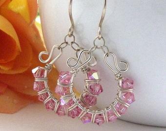 Pink Hoop Earrings - Swarovski Crystal Earrings - AdoniaJewely