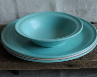 classic turquoise and pink melamine bowl and three plates, wear and tear, picnic decor