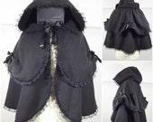 Gothic black  fleece  2 layers cape, Victorian alternative styles