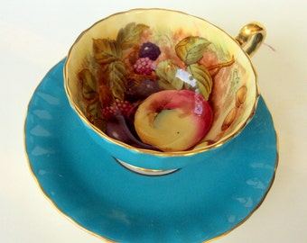 Vintage Aynsley Bone China Cup Saucer,England,1930s,Orchard Fruit,Dining Serving,Bridal Tea Party,Handpainted,Signed Doris Jones,Teal Gold