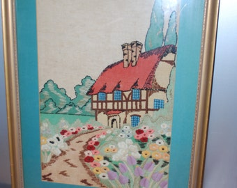 Framed Very Large Crewel Cottage Embroidery - Woodland - 1980's - Cottage Chic