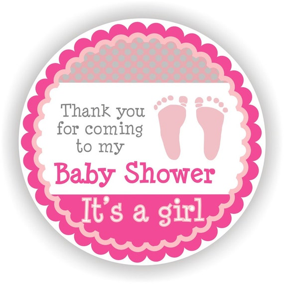 it is a girl baby shower 40 thank you 2 inch circle stickers baby shower labels envelope seal address labels labels from mmkids on