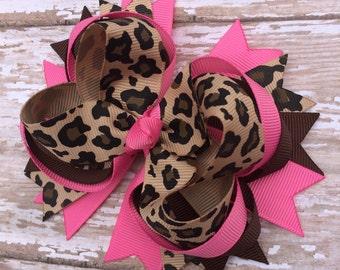 Hot Pink Leopard Hair Bow, Baby Headband, Newborn Headband, Infant Headband, Baby Toddler, Baby Shower, Birthday Bow, School