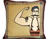 Circus Strongman Silk Cushion/Pillow - Sample SALE