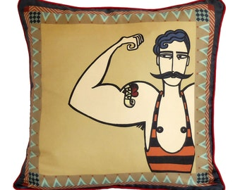 Circus Strongman Silk Cushion / Strongman Pillow / Circus Cushion / Circus Man Pillow