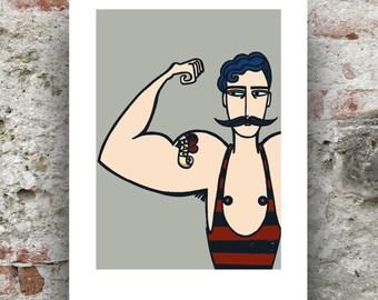 Circus Strongman Print / Strongman Print / Tattooed Strongman / Circus Art Print
