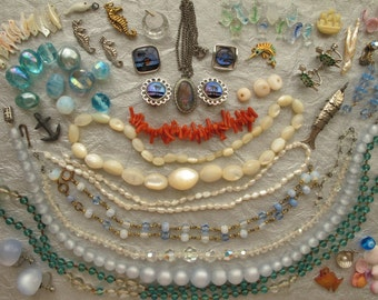 A Mermaids Treasure 98 Piece Collection Assemblage Art Charms Jewelry Coral Pearls Mother of Pearl Beads