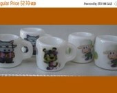 50% OFF - 5 Porcelain Mini Mug Beads Charm Sport Theme for your Project