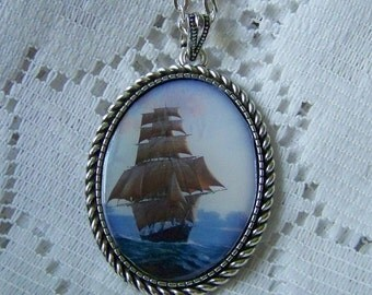Windjammer Blue Sea Jewelry, Full Sail Clipper Ship, Nautical Schooner, Tall Ship Necklace, Sailing Sailor jewelry, Pirate Ship, Age of Sail