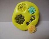 Set of 4 Flower skeleton key  Designs Food Grade Silicone Molds