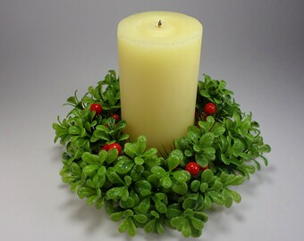 Vintage Candle with Holiday Wreath, Table Decor, Retro, 1970's, Holiday Home Decor