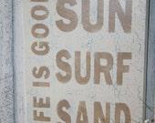 LIFE IS GOOD Sign - Sun Surf Sand - Funny Beach Sign- Beach Decor - Tropical Sign - Wooden Sign