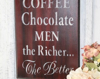 Coffee Sign - Coffee Chocolate Men The Richer the Better - Coffee  Chocolate Sign - Coffee Decor - Funny Kitchen Decor - Chocolate Sign
