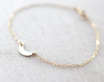 Crescent Moon Bracelet | Gold Moon Bracelet | Silver Moon Bracelet | Dainty Moon Bracelet