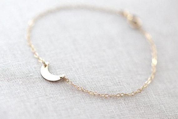 Crescent Moon Bracelet |  Or Lune Bracelet |  Silver Moon Bracelet |  Dainty Lune Bracelet