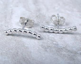 Silver Bubble Bar Earrings / Climber Earrings / Little Black Dress Earrings / Minimalist Jewelry