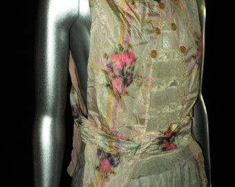 FINAL SALE Antique Edwardian French Bodice Summer Sleeveless Floral Period Historical Water Silk Pink Pastels