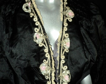 Exquisite Antique Victorian Silk Bodice with Metallic Soutache Ribbonwork Trim Original Stays Ruched Sleeves Excellent Condition