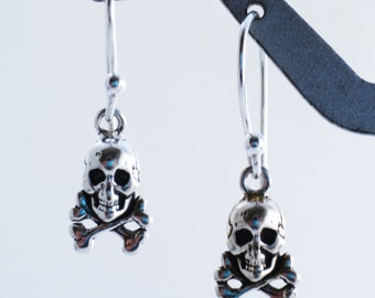 Tiny Skull and Bones Sterling Silver Earrings EE Designs