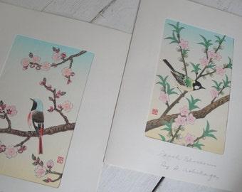 Vintage Woodblock Print Blossoms by Shizuo Ashikaga Set of 2