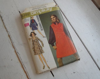 60s Sewing Pattern Coat Dress Jumper Simplicity 8392 Size 14