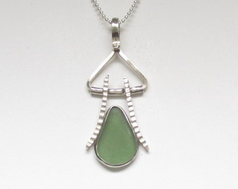 Sea Glass Jewelry - Sterling Green Sea Glass Necklace