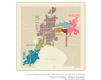 Fox Cities, Wisconsin Art Map Print (Outagamie, Winnebago, Calumet County) by James Steeno